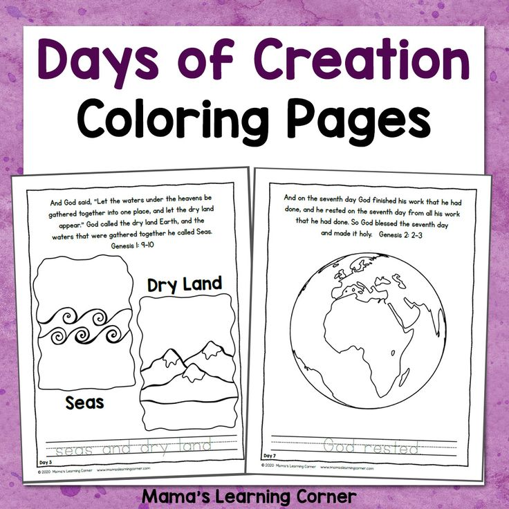 Days of Creation Coloring Pages in 2020 | Creation ...