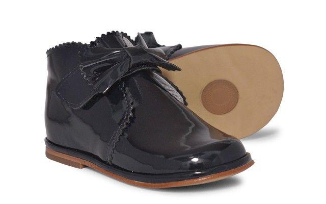 Baby Girls Navy Patent Velcro Boot