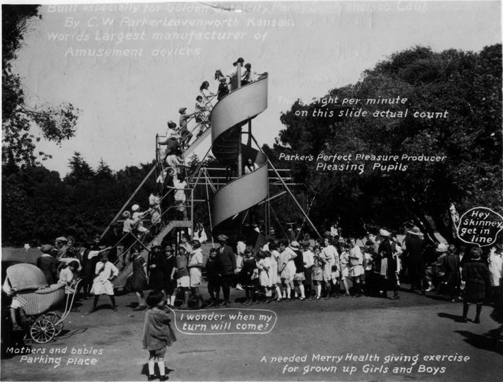"""The 38 Children a Minute Playground Slide, c. 1905- That's some fast slidin'….even for a """"merry health giving exercise""""!  Found at the Kansas Memory Project; the slide was produced in Kansas by the Parker Amusement Company for installation at the Golden Gate playground in San Francisco, California."""