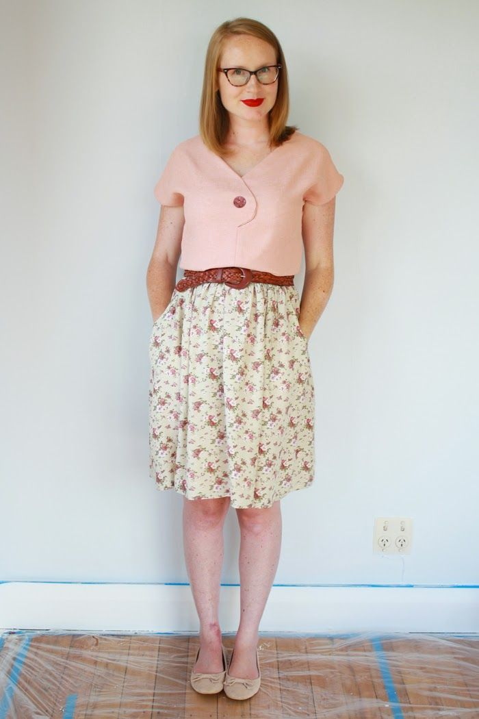 Jennifer Lauren Vintage: Me Made Maternity - Week 21: Sneaky Peeks. Wearing The Afternoon Blouse pattern and a little stretch gathered skirt (pattern coming!)
