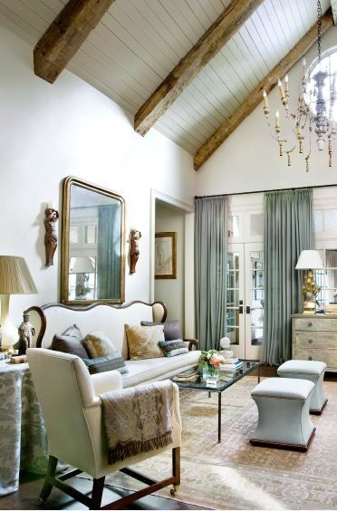 love the rustic reclaimed beams paired with the fresh and crisply painted bead board by lindsey