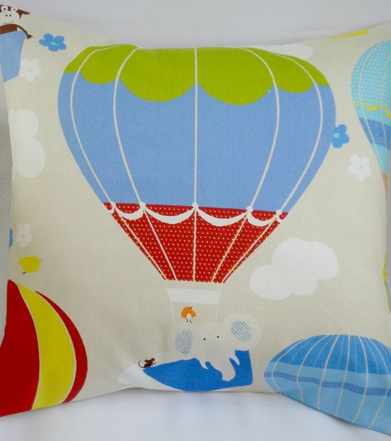 Decorative pillow Balloon hot air beige red blue green by VeeDubz
