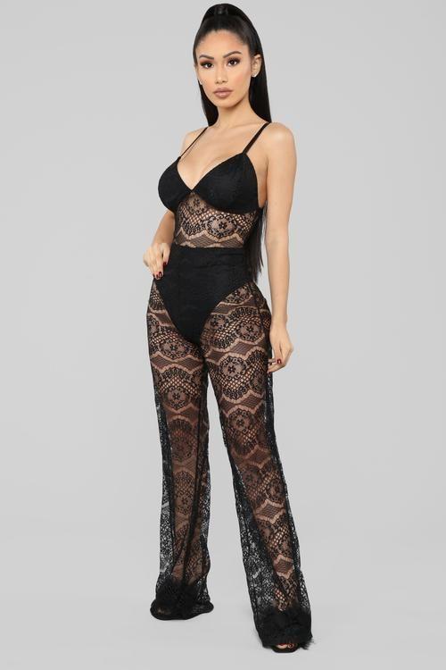 9d0c9f935416f Just One Night Lingerie Jumpsuit - Black | LaReina | Black jumpsuit ...