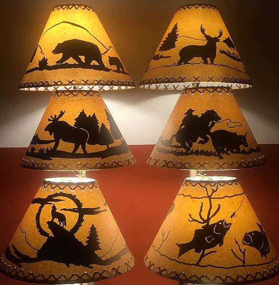 Bear Cowboy Coyote Deer Fish or Moose Lamp Shades! Perfect for Log Home Cabin, Country Decor or Your Hunting or Fishing Camp!