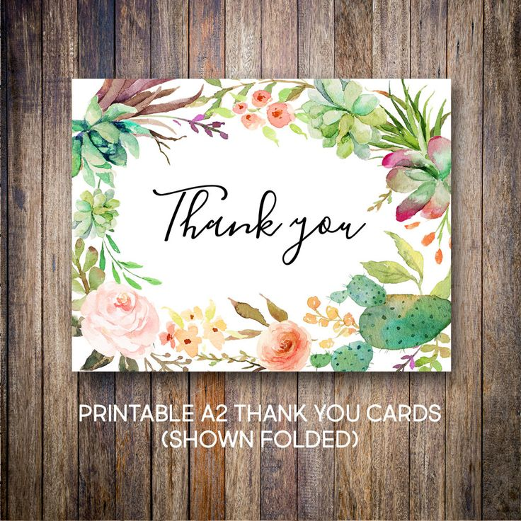 free online printable wedding thank you cards%0A Succulent Thank You Cards  Watercolor Thank You Notes  Baptism Thank You   Green