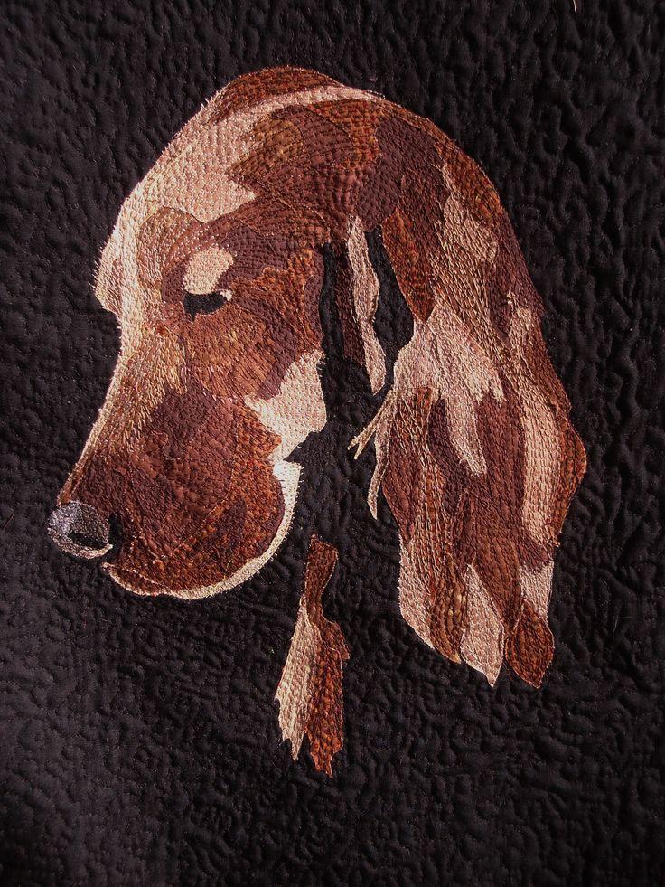 Red Setter...Pet portrait art quilt by Helen Dickson. https://www.pinterest.com/smudgersworld/my-stuff/