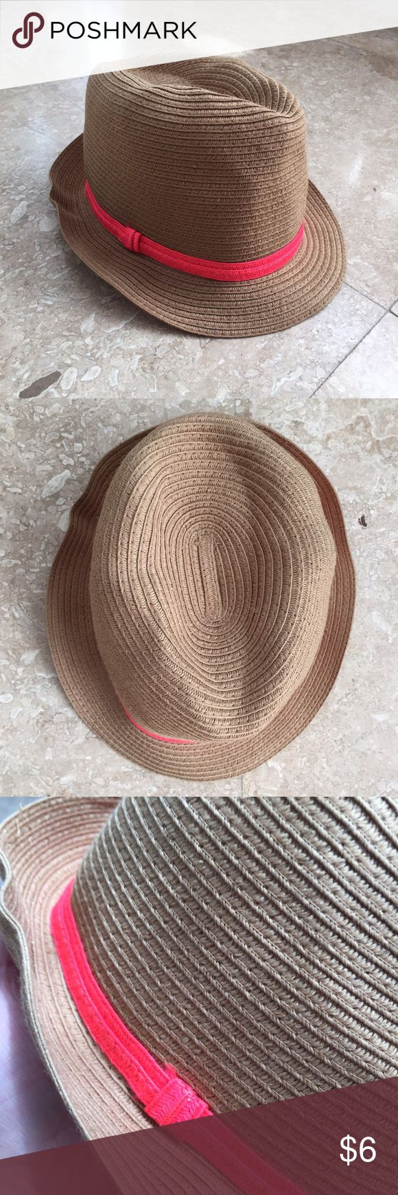 Fedora, Beach Hat, Brown and Neon Pink Stripe This fedora has is soft which means its collapsible and easy to pack! Hat is very comfy and minor wear. Looks great. Target Accessories Hats