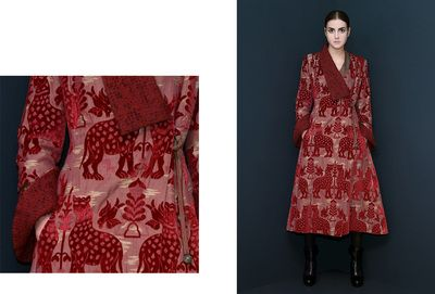 """""""Bordeaux"""" Coat. This coat is made of so-called VELLUTO FIERE silk velvet. It is a """"jacquard"""", a reproduction of """"le fiere"""" medieval design. The coat has an asymmetrical neck with silk and woolen inlays. The insides of the sleeves are also made of bouclé wool. DISCOVER THE COLLECTION >"""