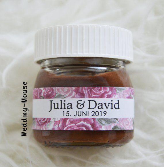 25x Nutella Mini Etiketten Fur 25g Gastgeschenk Hochzeit Vintage Blumen Personalised Favour Flowers Romantic Nutella Mini Originelle Gastgeschenke Gastgeschenke