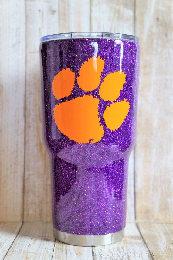 Clemson Tigers Glitter Dipped Glitter Coated by KimLarsenDesigns