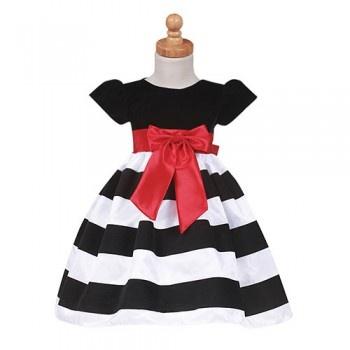 Lito Girls Black Stripe Flocked Christmas Dress Baby Toddler Girls 6M-7