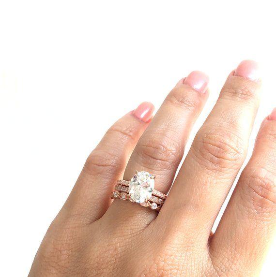 Wedding Ring Set Rose Gold Oval Engagement Ring Set Stacking Rings