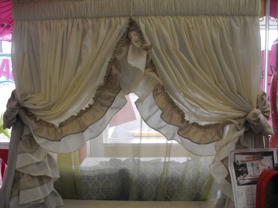 Country Ruffled curtains light cream with mocha by LaTeDaWindows, $89.00
