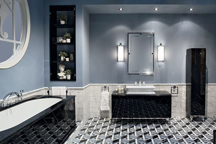 Rivoli collection of luxury bathroom by Oasis bathroom, Italy. Black lacquer and chrome details.