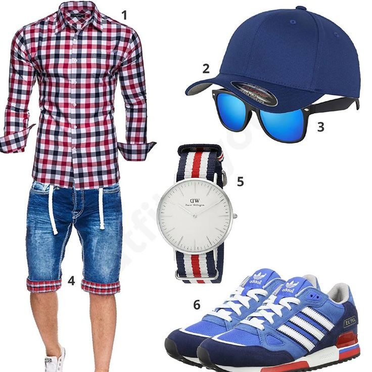 Blau-Weiß-Rotes Herren-Outfit mit Jeans-Shorts (m0417)