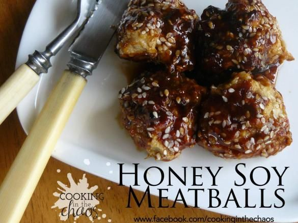 Honey Soy Meatballs by Cooking in the Chaos
