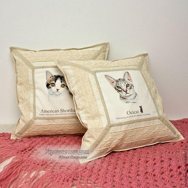 """Купить """"Кошки"""" 2 наволочки Подарок на Новый год - бежевый, коты и кошки, подушка в подарок"""