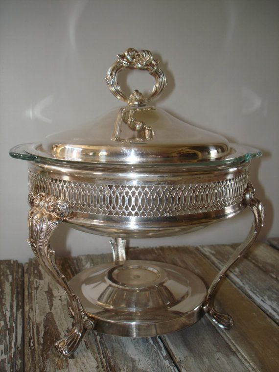 Vintage Silver Plated Chafing Warming Serving Casserole