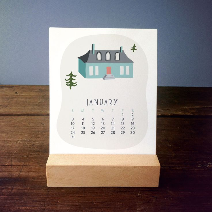 12-Month Desk Calendar with Wood Stand, Village