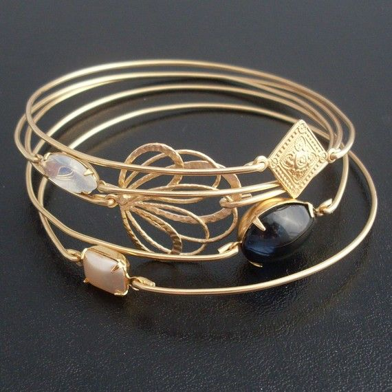 Obsessed! Twilight Stacking Bangle Bracelet Set Gold Black by FrostedWillow, $58.00