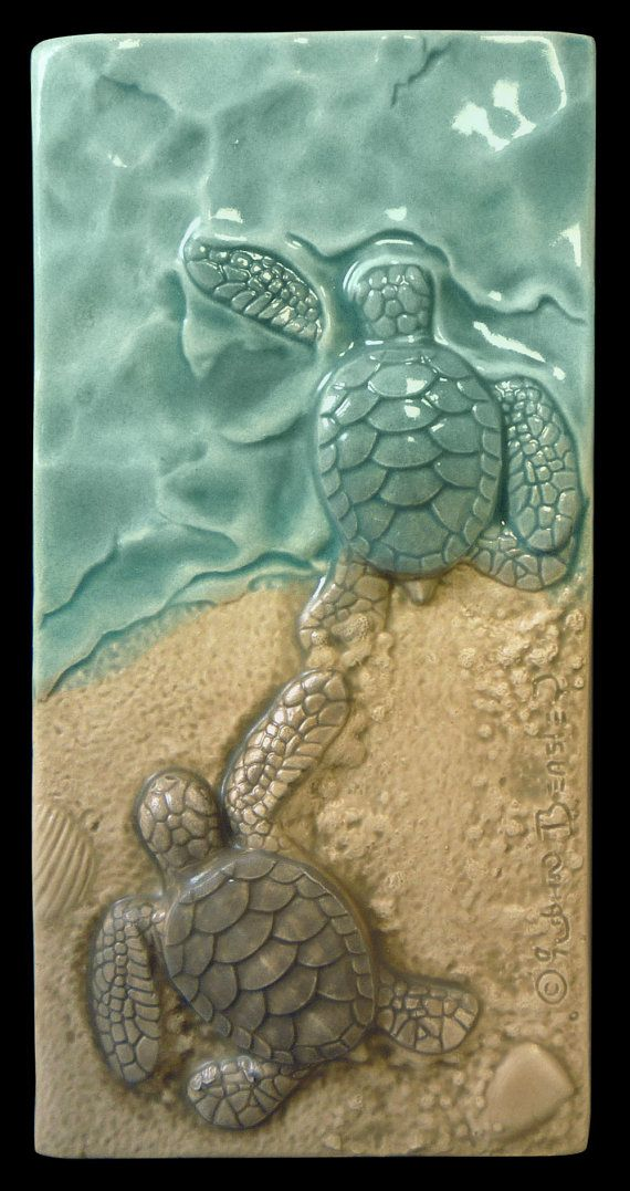Art tile, Sculpture, wall art, ceramic tile, Baby sea turtles, I Win, center of baby sea turtle triptych