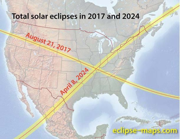 Eclipses 2017 & 2024 in North America.