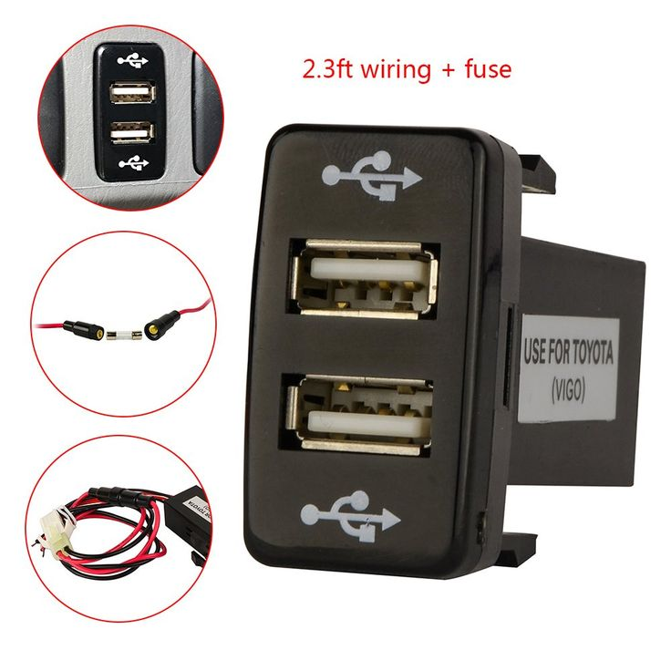 Amazon.com: Mictuning Toyota USB Charger for Toyota Switch Plant - with Fuse 2.3ft Wiring 5V 2.1/1.2A Dual USB Power Socket: Cell Phones & Accessories