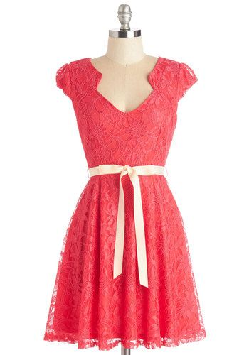 Sweet Staple Dress in Scarlet - Solid, Lace, Belted, Party, Bridesmaid, A-line, Cap Sleeves, Knit, Lace, Good, Variation, Short, Valentine's...