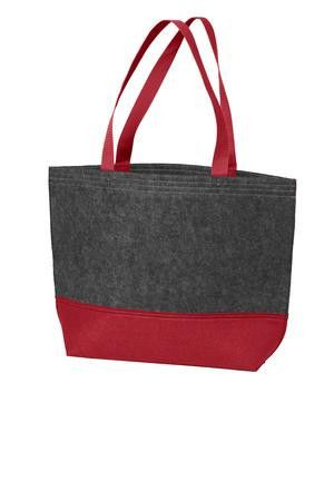 """100% polyester felt. 12""""h x 17""""w x 4.25""""d.  867 cubic inches. Available in 7 colors. Tote Bag Factory"""