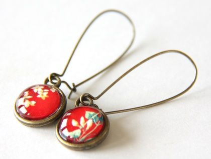 Red Floral Glass Dome Earrings