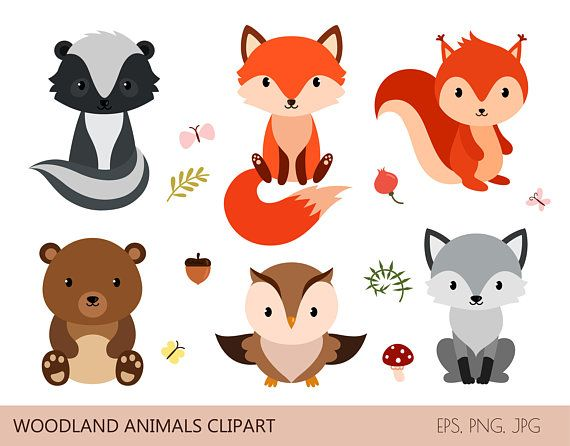 40+ Woodland Animal In Diaper Clipart