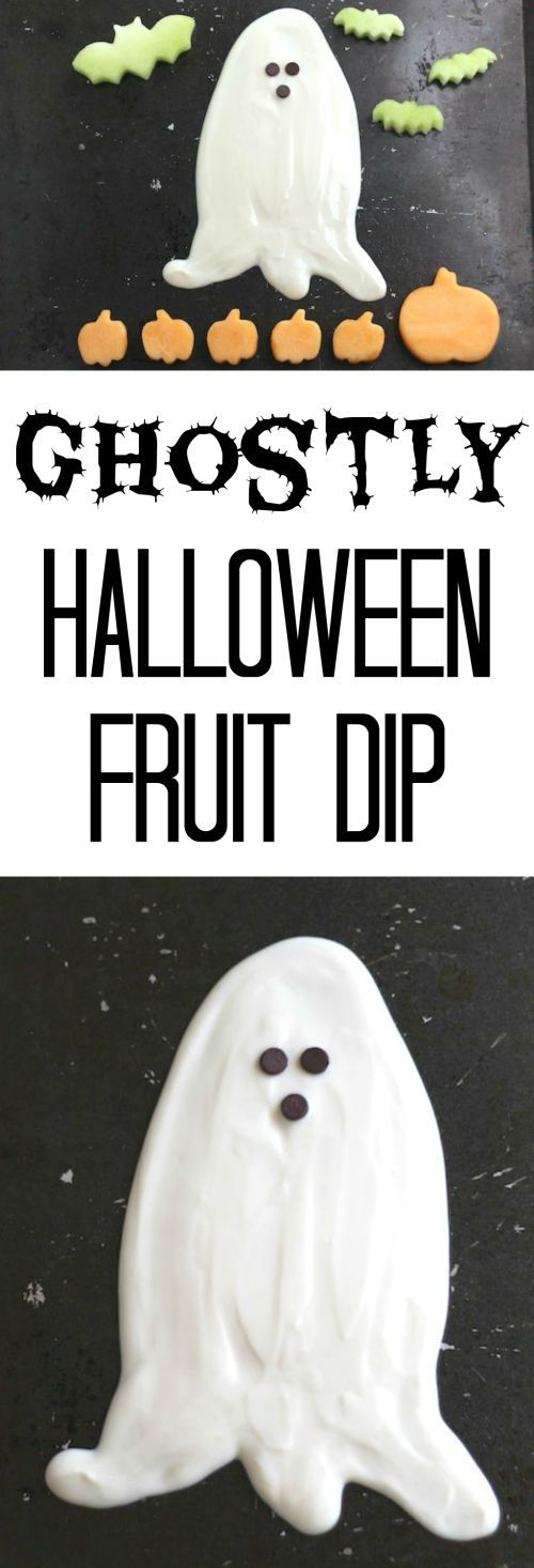 An easy, healthy Ghostly Halloween Fruit Dip recipe with just 3 ingredients! Perfect for Halloween parties ... it's both a delicious appetizer dip AND a party decoration! Plus, fun ideas for spook-tacular fruit to serve alongside! ~ from www.TwoHealthyKitchens.com