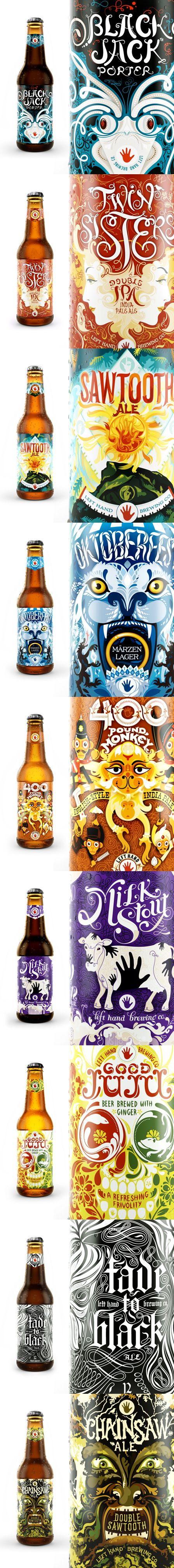 Left Hand Brewing Co. beer bottle design, awesome labels! Would make even more awesome candles after drinking the beer!