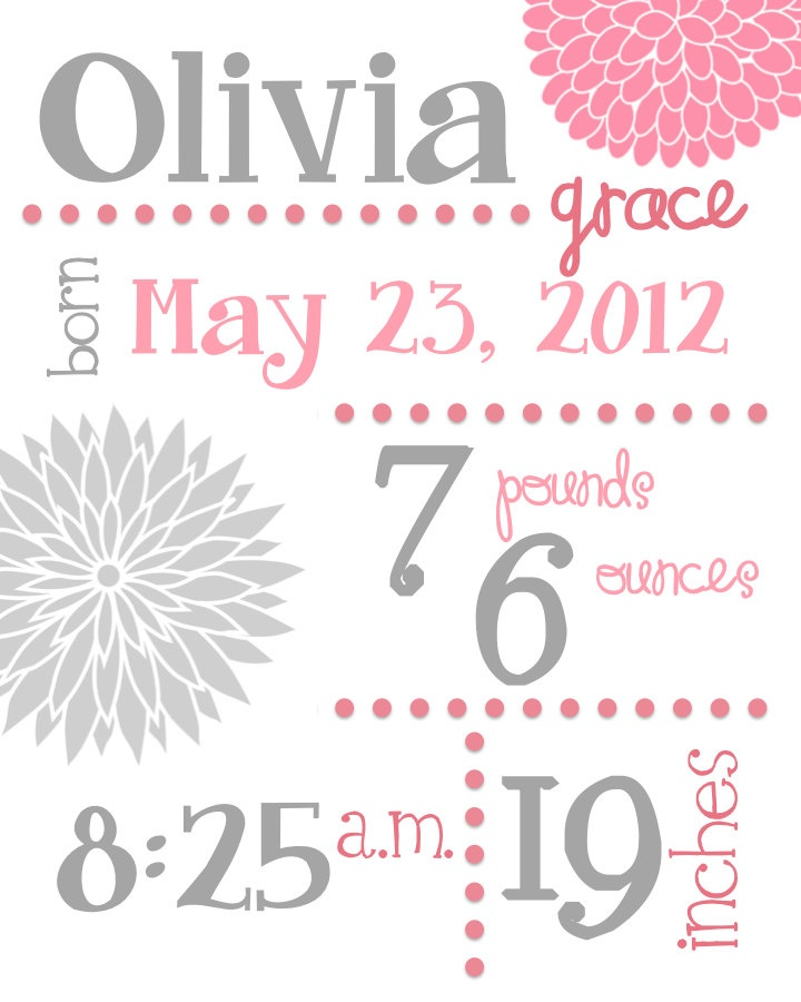 Birth statistic wall art, colorful or pink and gray floral birth announcement. $17.00, via Etsy.