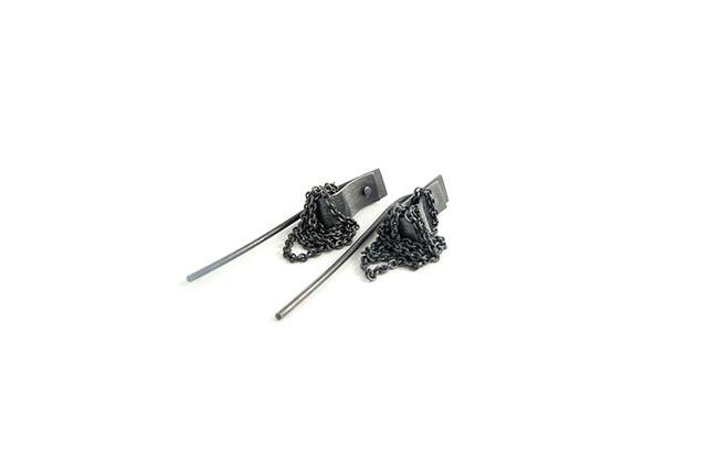 Earrings. Oxidized silver. By Little Raw Detail, Karina Bach-Lauritsen.