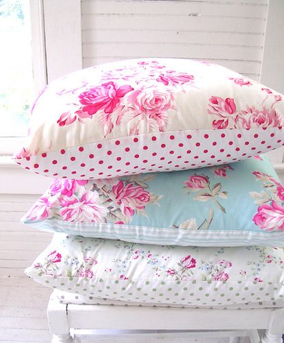 I love the polkadot side on these ava rose pillows