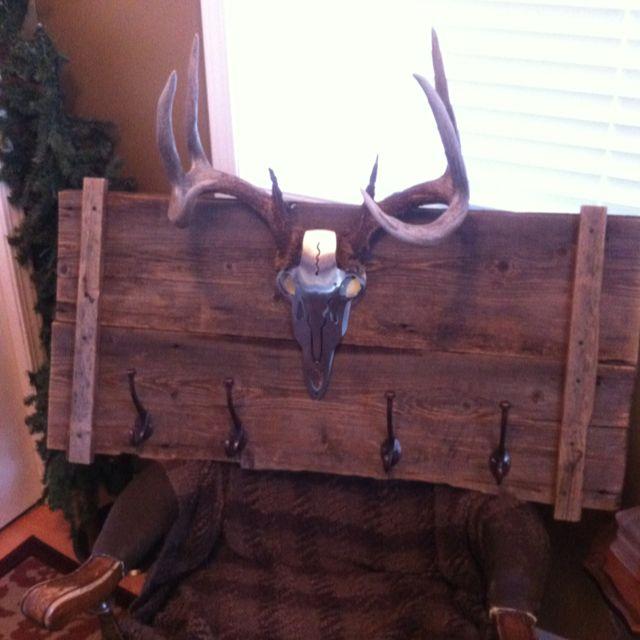 Barn board deer mount coat rack. Ok, so kind of rustic, but might be cool in a mud room.