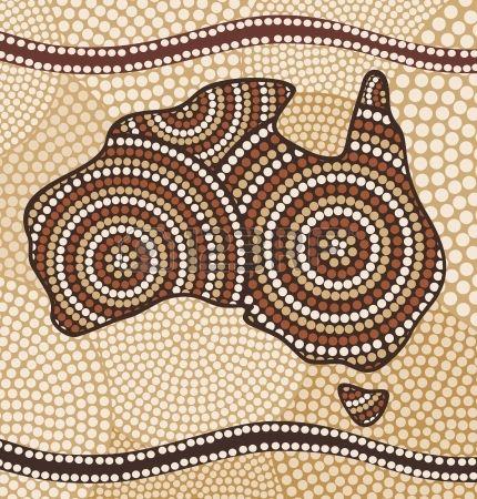 Karte von Australien Malerei im abstrakten Aboriginal Art