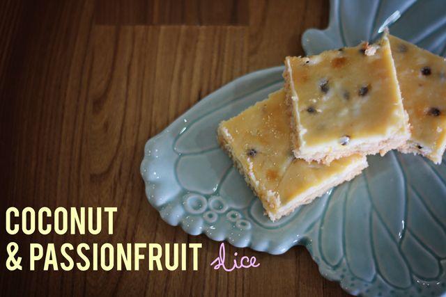 Bake me happy: Coconut & passionfruit slice