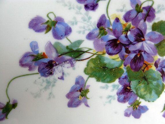 Vintage Violets Cake Plate by Vintage French Roses