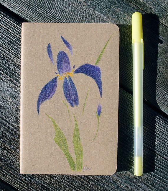Purple Iris Hand Painted Notebook   Chinese by KelliMcNicholsArt