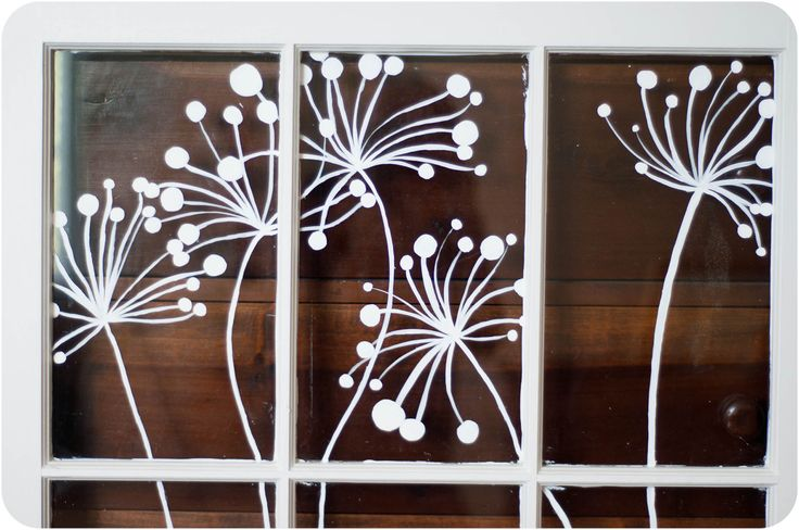 Modern Window Painting (dandelion dots).