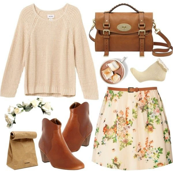 Cream & floral by hanaglatison on Polyvore featuring moda, Jeane Blush, Monki, Dorothy Perkins, Mulberry, Topshop, Isabel Marant, Jil Sander, lace and ankle boots