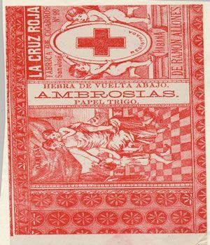 CIGARROS LA CRUZ ROJA    Marca de fábrica para cigarrillos, registro N° 321 del 21 de noviembre de 1889 a las 3:00 P.M. Titular J. Vales y Ca, Industriales de La Habana.