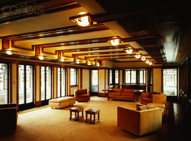 Frederick C. Robie House / Frank Lloyd Wright, Chicago, picture is showing a room inside the house