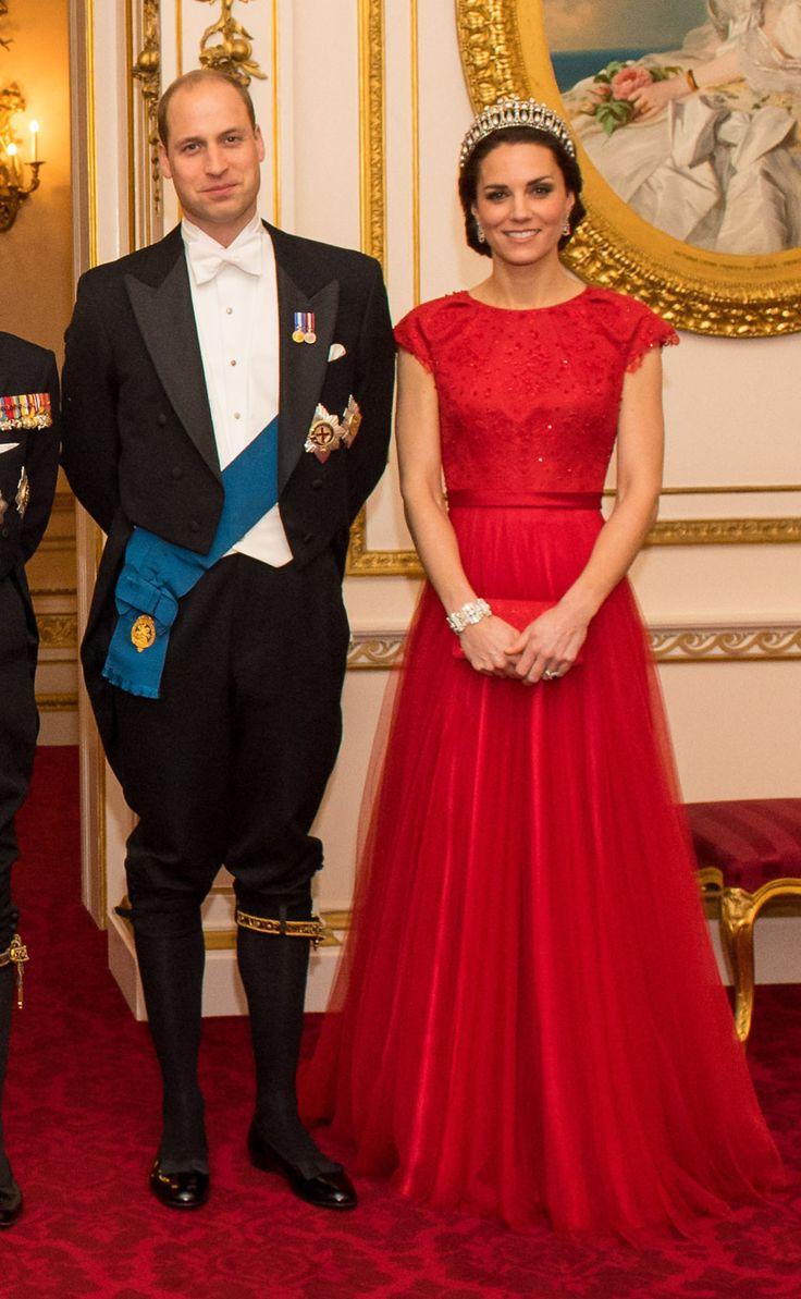 December 8, 2016 - Prince William & wife Duchess Kate at the Annual Diplomatic Reception held at Buckingham Palace, the Duchess accessorized her ruby-red Jenny Packham gown with the Cambridge Lover's Knot Tiara—a favorite of Princess Diana
