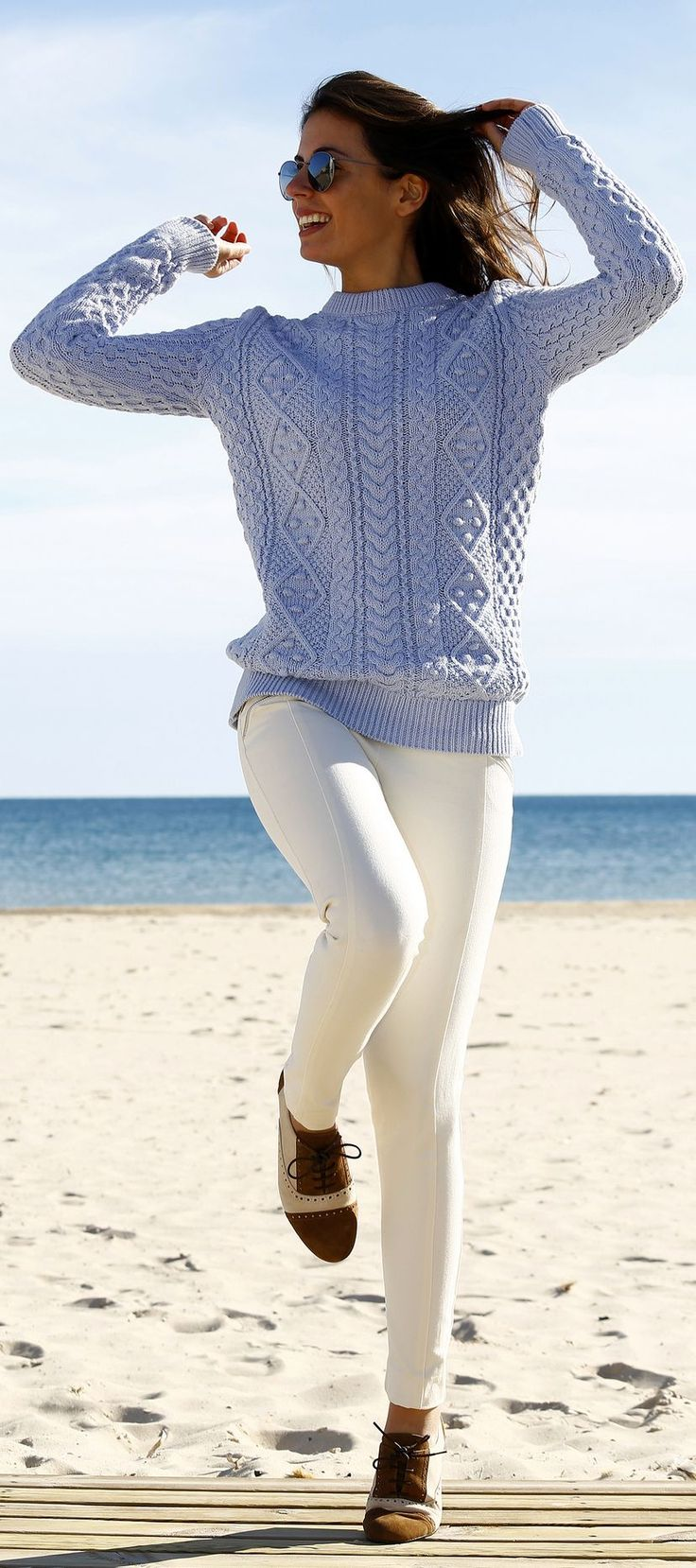 Light Blue Comfy Cable Knit Sweater. Those white pants are gorgeous too.