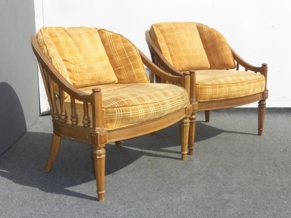 Pair Vintage Mid Century Modern Yellow Velvet Accent Chairs Etsy