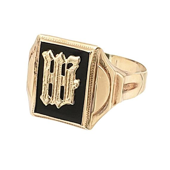 Vintage Men S 10k Gold Initial Ring Letter W Or M On Gold Initial Ring Monogram Ring Gold Initial Ring
