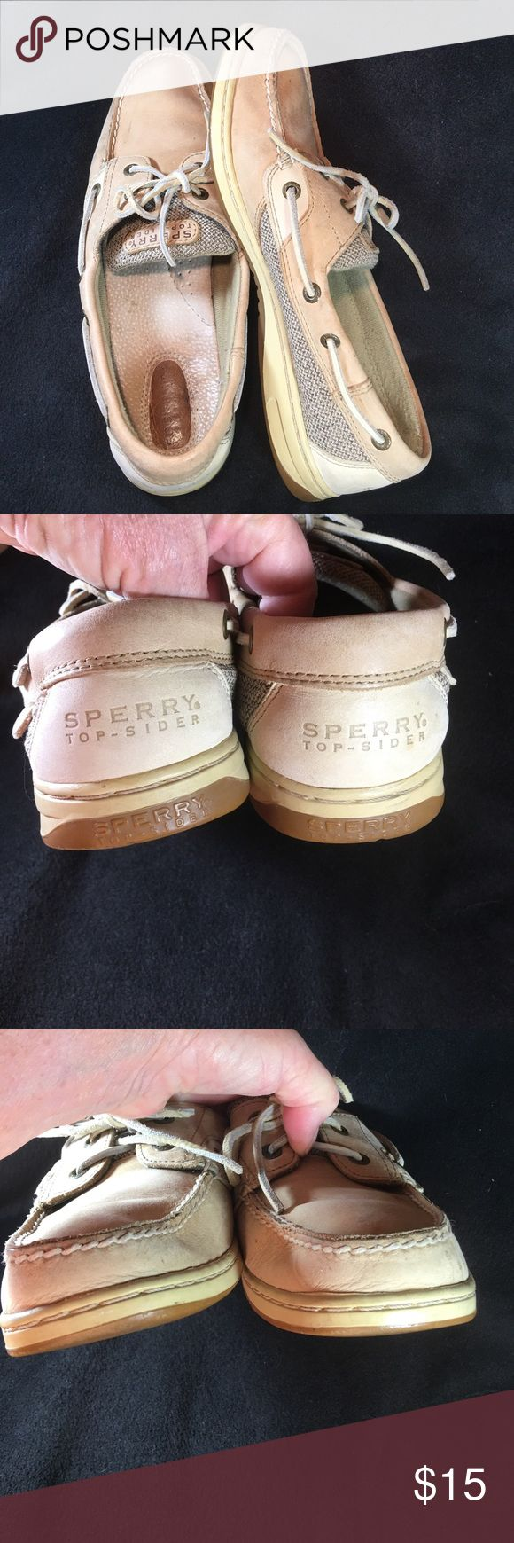 Sperry Top Sider Leather Upper 2Toned Tan 11 M Non marking sole. Padded instep. Leather laces. All stitching is intact. Some spots. Non smoking home Sperry Top-Sider Shoes Flats & Loafers